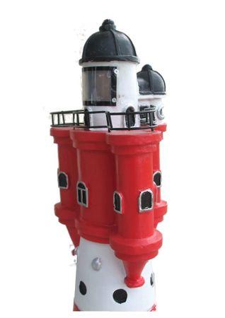 Leuchtturm rot weißer Turm Höhe ca. 50 cm Ø 18 cm Solar LED Beleuchtung Gartendekoration – Bild 3