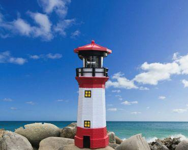 Leuchtturm rot weißer Turm Höhe ca. 28 cm Ø 9 cm Solar LED Leuchtfeuer Signal Gartendekoration – Bild 2