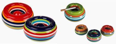 Sturmaschenbecher Aschenbecher für Balkon und Terrasse im Streifen Design Keramik