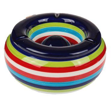 Sturmaschenbecher Aschenbecher für Balkon und Terrasse im Streifen Design Keramik  – Bild 4