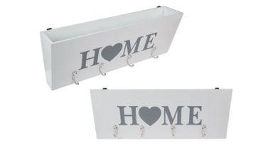 Schlüsselkasten Schlüsselboard mit 4 Haken und Ablagefach Holz Weiß HOME Schriftzug 40 cm