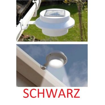 LED Solar Außenleuchten Dachrinnenleuchten Hausbeleuchtung schwarz 3 LEDs Ø 12 cm 2 Stück