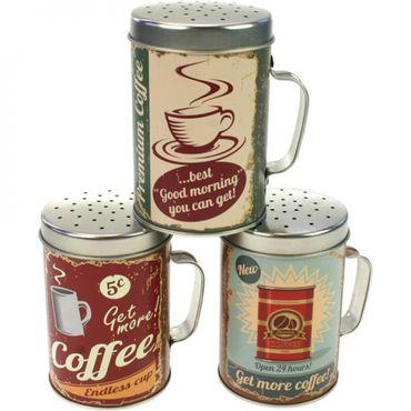 Streudose Streuer Metall mit Griff mit Coffee Motiv für Puderzucker Kakao Backzutaten 3 Stück