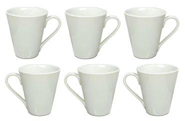 Kaffeebecher Kaffeetasse Porzellan Weiß mit Henkel 6 Stück Set Modell-Auswahl – Bild 7