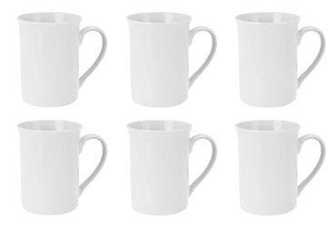 Kaffeebecher Kaffeetasse Porzellan Weiß mit Henkel 6 Stück Set Modell-Auswahl – Bild 1