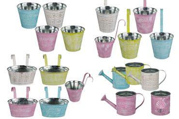 Blumentopf Metall zum Stellen / Hängen Vintage Pastellfarben 4 Stück sortiert Modell-Auswahl – Bild 1