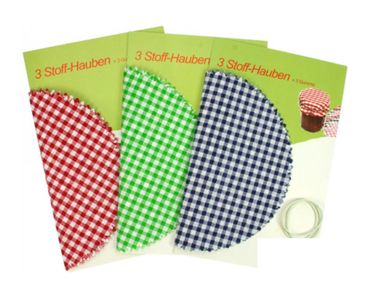 Stoff Hauben für Einmachgläser Marmeladendeckchen Gläserdeckchen Landhaus Stil 9 Stück Set