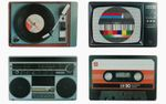 Tischset Platzsets Platzmatten Kunststoff abwaschbar Retro analoge Hifi TV Designs 45 cm x 29 cm 4 Stück 001