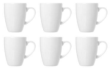 Kaffeebecher Kaffeetassen Tassen mit Henkel Porzellan Weiß bauchige Form 320 ml 6 Stück