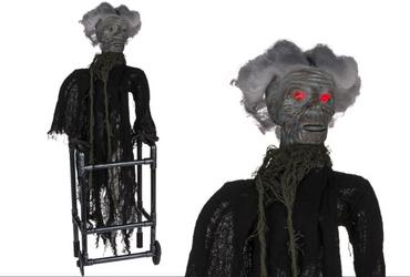 Halloween Figur gruselig Frau mit Gehhilfe XL 73 cm mit LED Sound und Bewegung 1 Stück