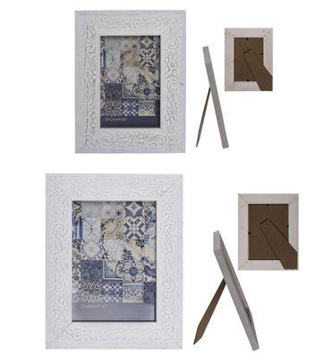 Bilderrahmen Fotorahmen Holz Rahmen Weiß im Vintage Ornament Design 10 x 15 cm oder 13 x 18 cm 1 Stück  – Bild 1