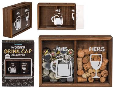 Kronkorken Korken Sammler für Bier und Wein Flaschenverschlüssen mit zwei Fächern HIS und HERS 1 Stück