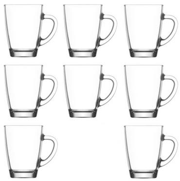 Teegläser Set mit Henkel Trinkgläser Kaffeebecher Glühweinbecher klar 300 ml 8 Stück