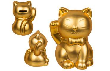 Spardose Winkekatze Glückskatze Maneki Neko Goldfarben mit rechts winkender Pfote 1 Stück