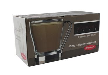 Pasabahce | Kaffee/Teetasse 2er Set | Kaffeetassen / Teetassen  | Glas mit Metallhenkel  – Bild 2