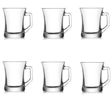 6x Teetassen ZPL404 | Trinkgläser | Kaffeeglas | Cappucino | Teeglas mit Henkel