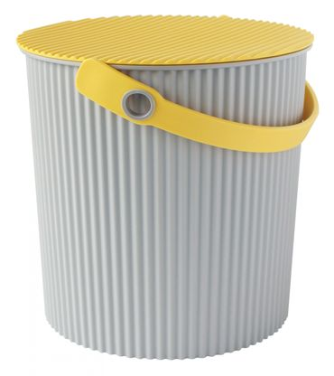 Eimer mit Deckel 10 Liter Grau/gelb Hachiman