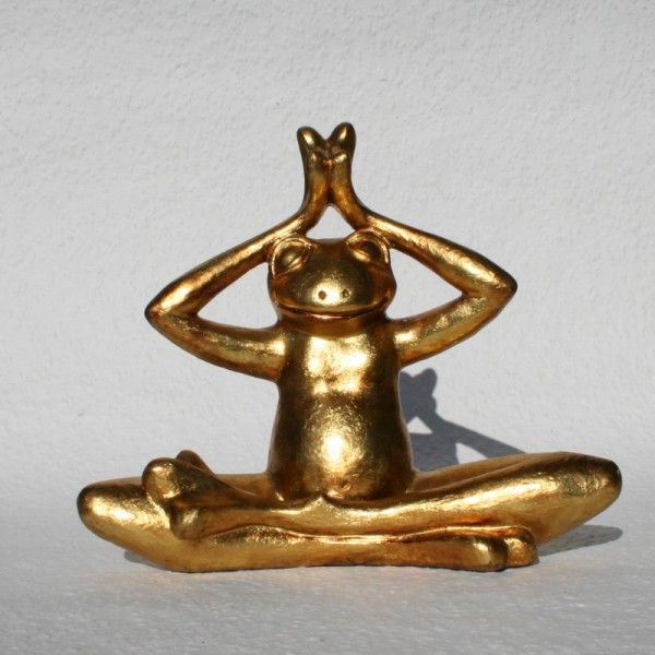 Goldener Meditierender Glücks Frosch Yoga Feng Shui Figuren