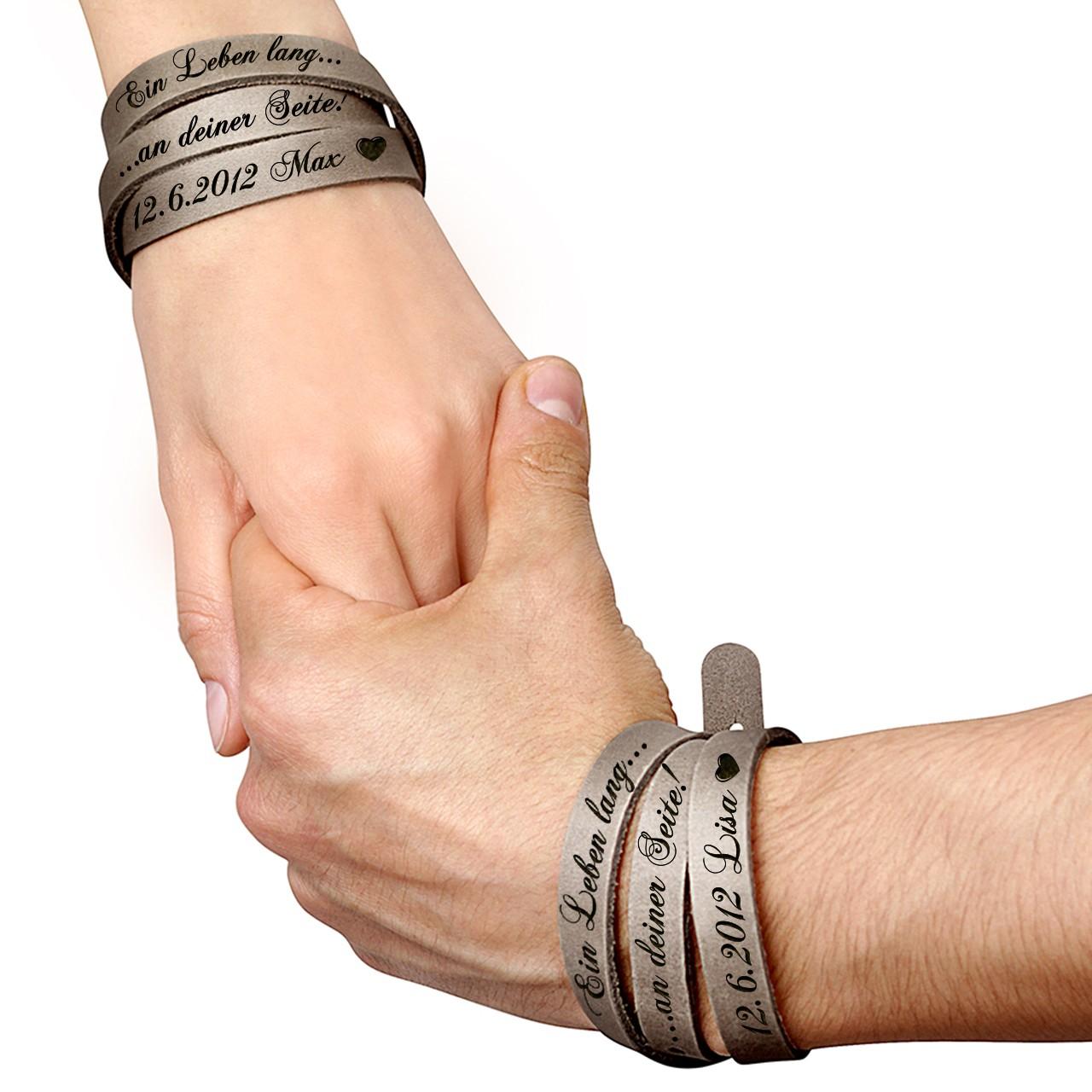 Partner lederarmband mit gravur  Wickelarmband mit Gravur aus Leder | 2-teiliges Set - Grau 285