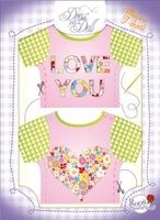 T-Shirt Love You / Liebesgrüße Nr. 8 - Schneidern mit Grußkarte - Dress Your Doll