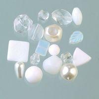 Glasperlenmix sortiert weiß edel gemischte Sortierung, 120 g