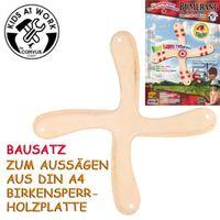 Bumerang zum Aussägen 4-Flügler / Bausatz mit Schablone / Basteln - Kids at Work