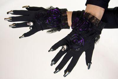 Krallen-Handschuhe garniert, schwarz
