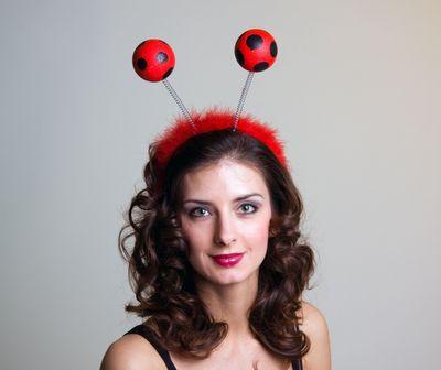 Kopfbügel mit Marienkäferfühlern Neu Karneval Fasching