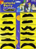 Bartkarte mit 12 Schnurrbärtchen schwarz Erwachsene Karneval Fasching