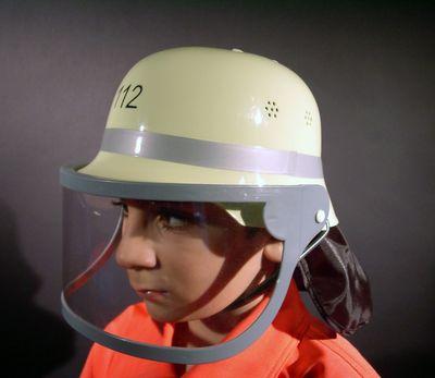 orig. deutscher Feuerwehrhelm mit Klappvisier für Kinder Karneval Fasching