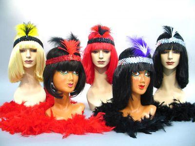 Charleston Stirnband mit Federbusch  Karneval Fasching
