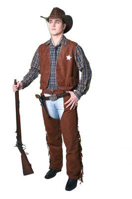 Cowboy-Weste Braun Größe 44-46 Karneval