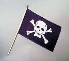 Piraten Flagge Fahne mit Stab Stofffahne Jolly Roger