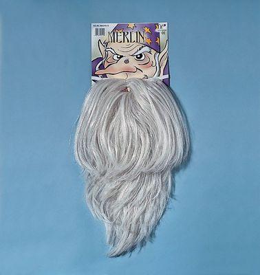 Bart für Erwachsene Vollbart Merlin Magier weißblond