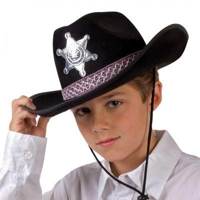 Cowboyhut Cowboy Kinderhut Filz schwarz  Größe 52
