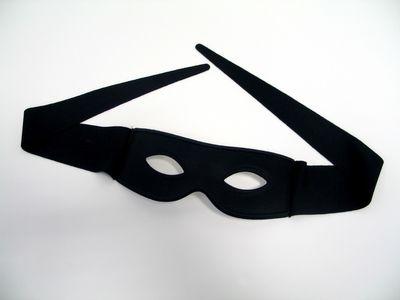 Maske Helloween Stoffmaske mit Bindebändern schwarz