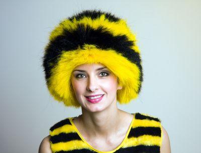 Perücke Biene schwarz / gelb Neu Karneval Fasching