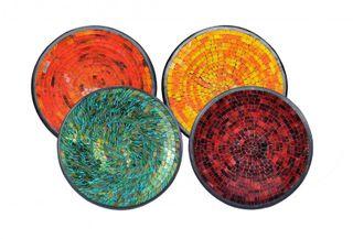 Glas-Mosaik-Schale mit hintermalten Glassteinen belegt - Dekoschale 15 cm
