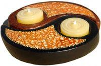 Kerzen-Halter Ying Yang, Teelicht-Halter aus Ton