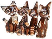 freche Deko-Katzen CHILL aus Holz im 4er-Set