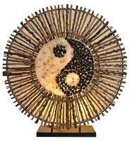 Deko-Leuchte YING YANG BATUR, Lampe aus Natur-Material, Stimmungsleuchte, runde Form