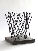 Design-Vase STICKS, Glas in Metall