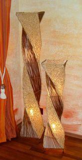 Deko-Leuchte MARCO, hohe Stehlampe aus Natur-Material, gedrehte Form