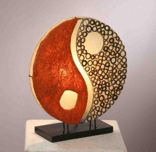 Deko-Leuchte YING YANG, rund, Natur-Material, 33 cm Durchmesser, Stimmungsleuchte