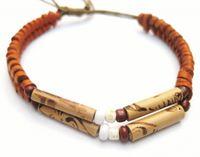 Armband aus Leder mit Bambusstücken, natur, Lederarmband