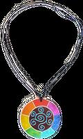 bunt bemalte Halskette aus Sonor-Wood, Holz-Schmuck Modeschmuck, Natur-Schmuck