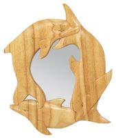 Deko-Spiegel 3 Delfine ca. 33 x 26 cm handgeschnitzt aus Hibiskus-Holz