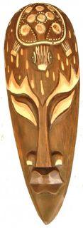 Maske bemalt 30 cm, Holz-Maske aus Bali, Wandmaske Schildkröte