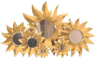 Deko-Spiegel GOLDEN SUN, Holz, 7 Größen, Wandschmuck