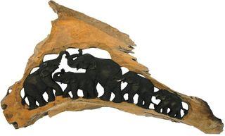 Holz-Elefanten THE CLAN geschnitzt im Naturholzrahmen, 5 Tiere
